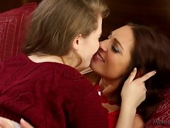 Mindi tries to resist her daughter`s lips on her pussy, but she can only moan in ecstasy. The lesbians lose themselves in another world of pleasure, tribbing hypnotically, till Mindi sucks a cum out of Samantha`s clit.
