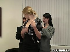Lily Cade wants Alex Harper and Lena Anderson to know she`s the woman at this office who can have anyone`s ass for any reason... not that she goes around threatening jobs all day, but that she has full blinds on her windows and a lock on her office door, and her desk is strong enough for a threesome! The new blonde doesn`t seem so sure this is really happening, at first...